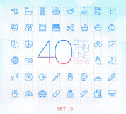 40 Trendy Thin Icons Set 15. 40 Trendy Thin Icons for web and mobile Set 15 Royalty Free Stock Photos