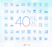 40 Trendy Thin Icons Set 14 Royalty Free Stock Photos