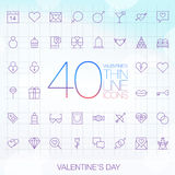 40 Trendy Thin Icons Valentine's Day Set Royalty Free Stock Photos
