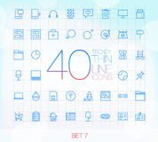 40 Trendy Thin Icons for web and mobile Set 7 Royalty Free Stock Photography
