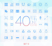 40 Trendy Thin Icons for web and mobile Set 9 Royalty Free Stock Image