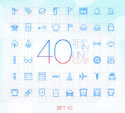 40 Trendy Thin Icons for web and mobile Set 10 Royalty Free Stock Images