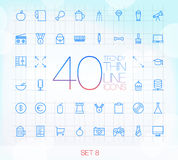 40 Trendy Thin Icons for web and mobile Set 8 Stock Photo