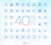 40 Trendy Thin Icons for web and mobile Set 11. 40 Trendy Thin Icons for web and mobile applications Set 11 Stock Images