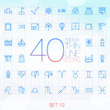 40 Trendy Thin Icons for web and mobile Set 12 Stock Image