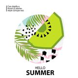 Trendy tropic and kiwi background. Vector illustration Royalty Free Stock Photography