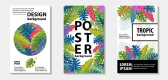 Trendy tropic pattern covers set. Vector illustration Stock Photography