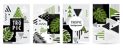 Trendy tropic pattern covers set. Vector illustration. Trendy tropic pattern covers set. Design floral backgrounds for booklet, cards, invitation, brochure and stock illustration