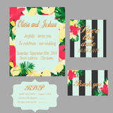 Trendy tropical jungle style vector wedding print set. Invitation cards, menu and envelope vector templates with exotic green, blue, pink plants with Stock Photo