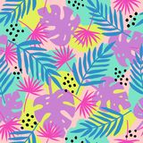 Trendy tropical leaves seamless pattern. Vector. Bright  hand drawn background Stock Photography