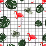 Trendy tropical pattern with flamingo. Vector. Hawaiian style background with jungle tropical plants and flamingo bird. Fabric pri Stock Photos