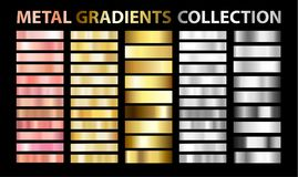 Trendy UI metal gradients collection royalty free illustration