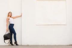 Trendy urban girl outdoors Stock Image
