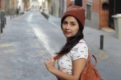 Trendy urban latin woman with copy space stock photos