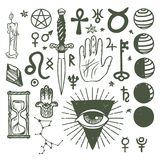 Trendy vector esoteric symbols sketch hand drawn religion philosophy spirituality occultism chemistry science magic Stock Image