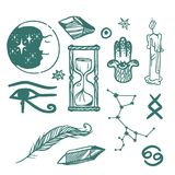 Trendy vector esoteric symbols sketch hand drawn religion philosophy spirituality occultism chemistry science magic Royalty Free Stock Photography