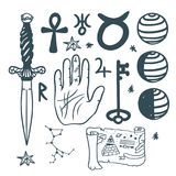 Trendy vector esoteric symbols sketch hand drawn religion philosophy spirituality occultism chemistry science magic Stock Photos