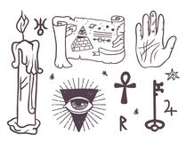 Trendy vector esoteric symbols sketch hand drawn religion philosophy spirituality occultism chemistry science magic Royalty Free Stock Image
