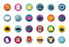Trendy Vector Flat Icons With Long Shadow Royalty Free Stock Photos