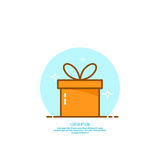Trendy vector icon giftbox with ribbons. Royalty Free Stock Image