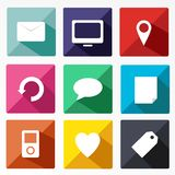 Trendy Vector Icons With Long Shadow Royalty Free Stock Images