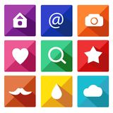 Trendy Vector Icons With Long Shadow Set 9 Royalty Free Stock Photo