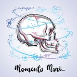 Trendy vector illustration of a human skull - the symbol of sacred life and bitter truth. Vintage tattoo design and mystic sign. Artwork is best for print royalty free illustration