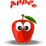 Trendy vector red apple illustration. Very high quality original trendy vector red apple illustration character, personage or face Stock Photography
