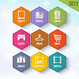 Trendy Vector Rounded Hexagon Icons Set 2 Royalty Free Stock Photos