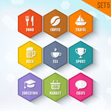 Trendy Vector Rounded Hexagon Icons Set 5 Royalty Free Stock Photo