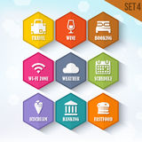 Trendy Vector Rounded Hexagon Icons Set 4 Royalty Free Stock Photo