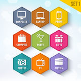 Trendy Vector Rounded Hexagon Icons Set 1 Stock Photo