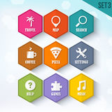 Trendy Vector Rounded Hexagon Icons Set 3 Stock Photos
