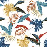 Trendy vector seamless beautiful artistic bright tropical pattern with exotic forest. Colorful original stylish floral background royalty free illustration