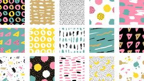 Trendy vector seamless colorful pattern with brush strokes. Vec. Trendy vector seamless colorful pattern with brush strokes. Design backgrounds for wallpaper royalty free illustration