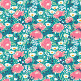 Trendy vector seamless floral ditsy pattern. Fabric design with simple flowers. Royalty Free Stock Photos