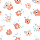 Trendy vector seamless floral ditsy pattern. Fabric design with simple flowers on the light polka dot background. Royalty Free Stock Photography