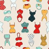 Trendy vector seamless pattern with cute swimsuits Royalty Free Illustration