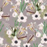 Trendy vintage Floral pattern with the many kind of flowers. Botanical Motifs scattered random. White lilies and anemones seamless pattern stock illustration