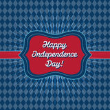 Trendy vintage styled July 4th badge. July 4th card template - Badge with vintage style and and rhombus background, that reads Happy Independence Day Stock Image
