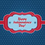 Trendy vintage styled July 4th badge. Independence Day card template - Badge with vintage style and a geometric background, that reads Happy Independence Day Stock Photo