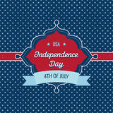 Trendy vintage styled July 4th badge. Independence Day card template - Badge with vintage style and and polka dots background, that reads USA - Independence Day vector illustration