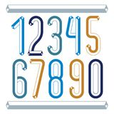 Trendy vintage vector digits, numerals collection. Retro condens. Ed numbers from 0 to 9 can be used in art  poster creation. Made using geometric tetra tube Stock Photos