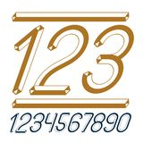 Trendy vintage vector digits, numerals collection. Retro italic. Numbers from 0 to 9 can be used in art  poster creation. Created using dimensional tetra pipe Stock Images