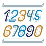 Trendy vintage vector digits, numerals collection. Retro italic. Numbers from 0 to 9 can be used in art  poster creation. Made with industrial 3d tetra tube Stock Photography