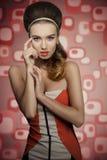 Trendy vintage woman stock photo