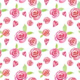 Valentine's day Watercolor cute floral pattern with pink roses and hearts on white background. Beautiful botanical print. For wedding invitations design royalty free illustration