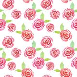 Trendy Watercolor cute floral pattern with pink roses on white background. Beautiful botanical print. For wedding invitations design, mother`s day and Valentine stock illustration