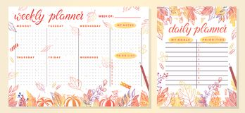 Trendy weekly and daily planner template royalty free illustration