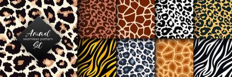 Free Trendy Wild Animal Seamless Pattern Collection. Vector Leopard, Cheetah, Tiger, Giraffe, Zebra Skin Texture Set For Fashion Print Stock Photography - 195048002